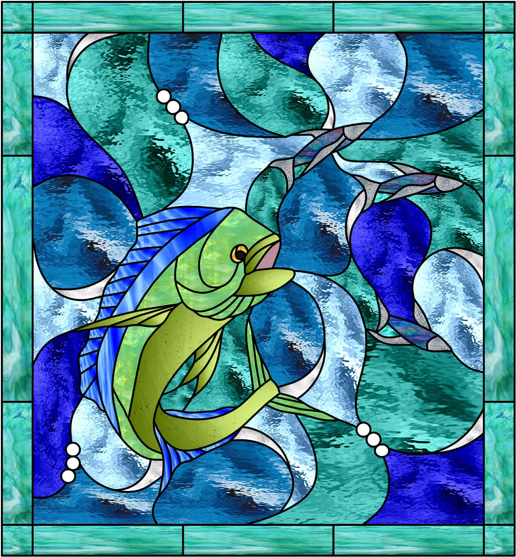 Incredible mahi malolo hawaiian flying fish leaded for Stained glass fish