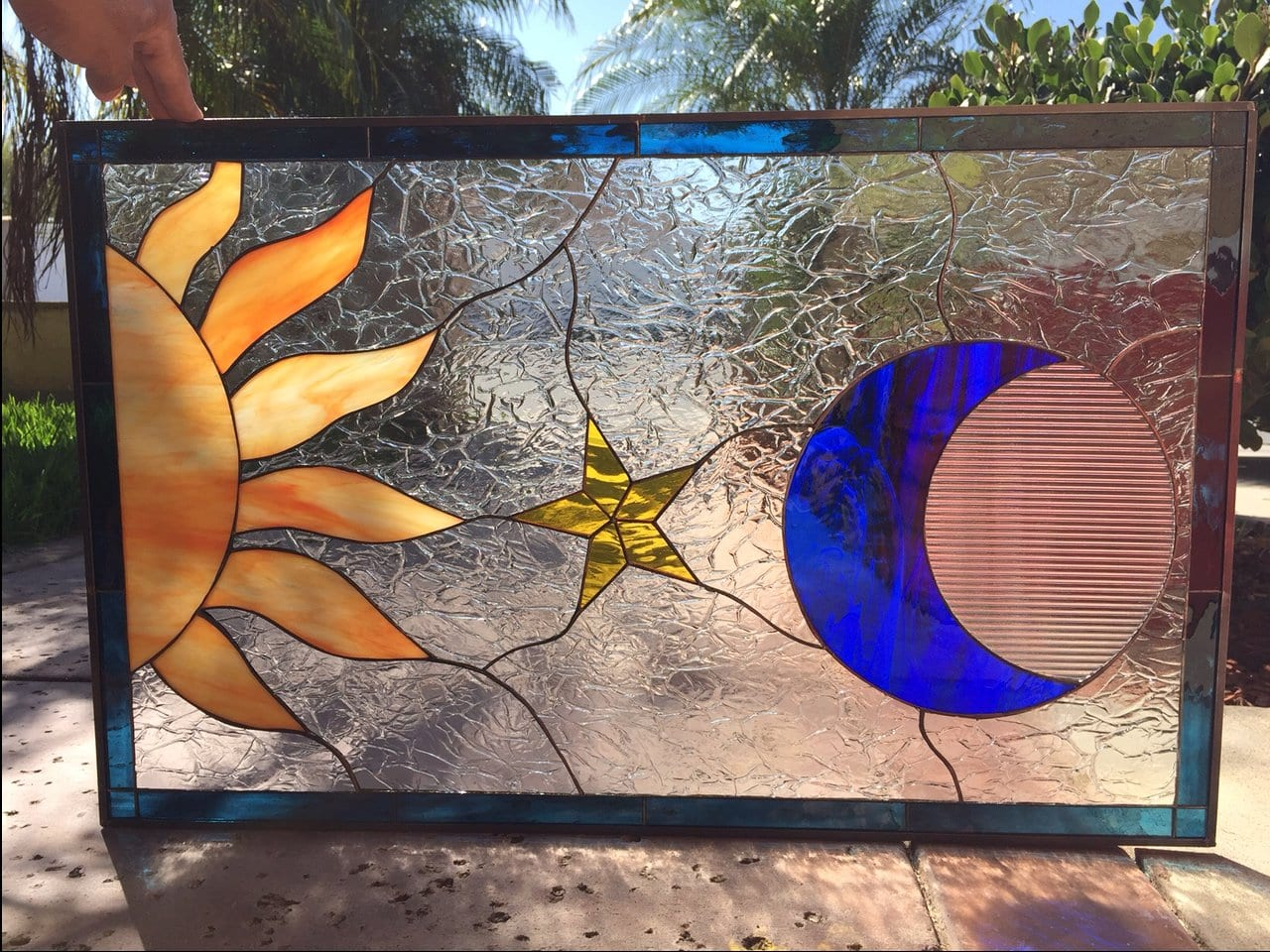 Mystical Sun Moon Amp Star Leaded Stained Glass Window