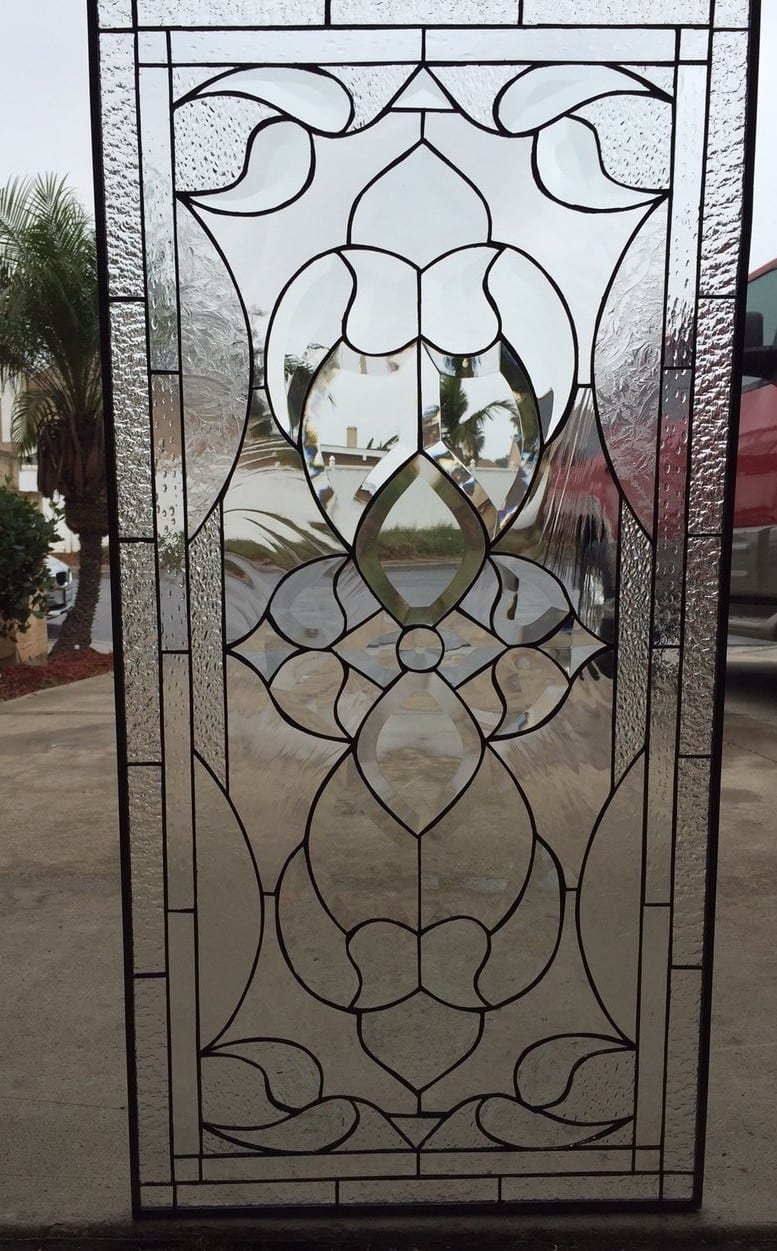 """Clear Leaded Glass : """"novato all clear beveled and textured leaded stained"""