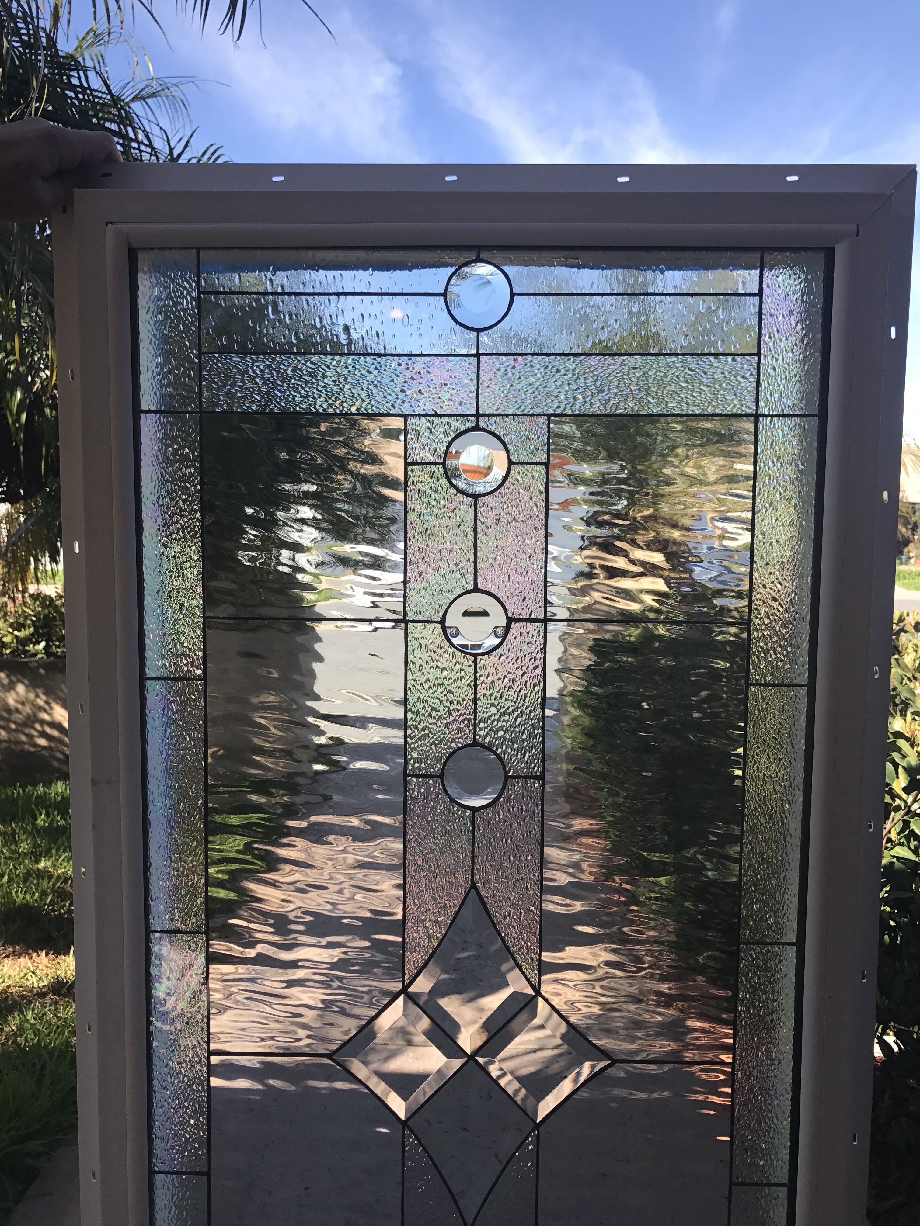 insulated between tempered glass and vinyl framed  the  u0026quot poway u0026quot  leaded stained glass window panel