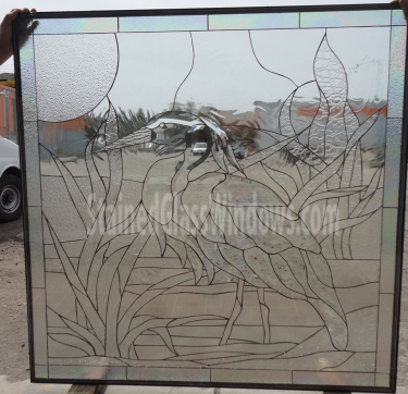 elegant egret heron stained beveled leaded glass window available insulated pre installed into a vinyl frame 38 x 38 in