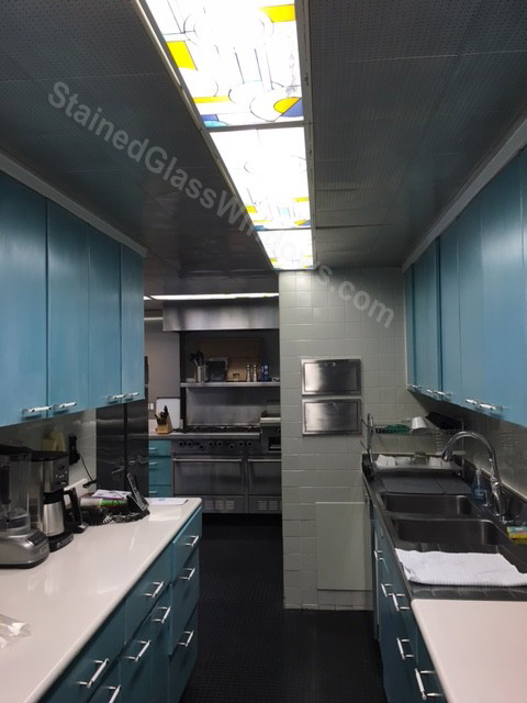 stained glass ceiling light panels in a commercial kitchen in new