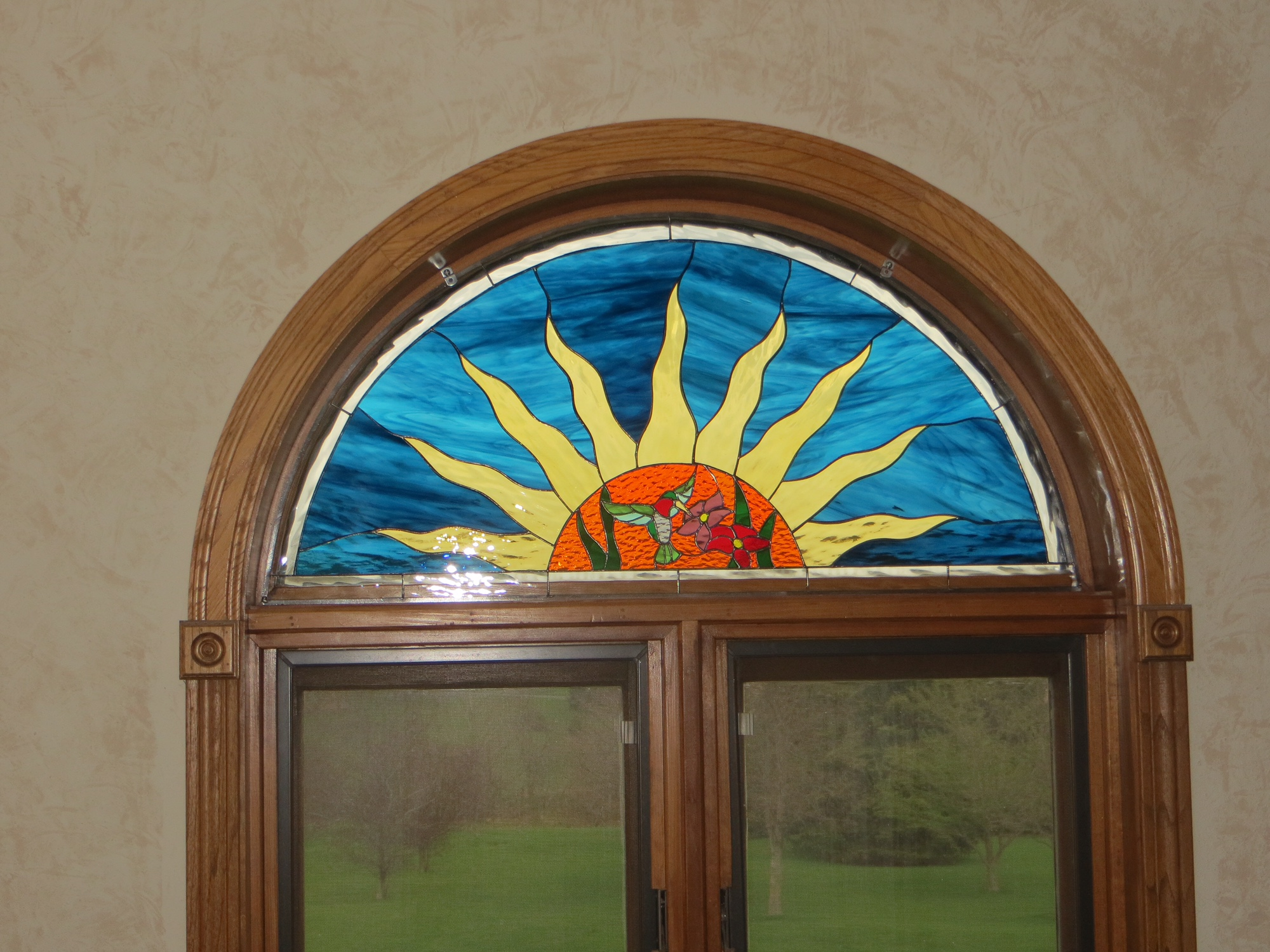 Custom Made Arched Stained Glass Window Insert Held In