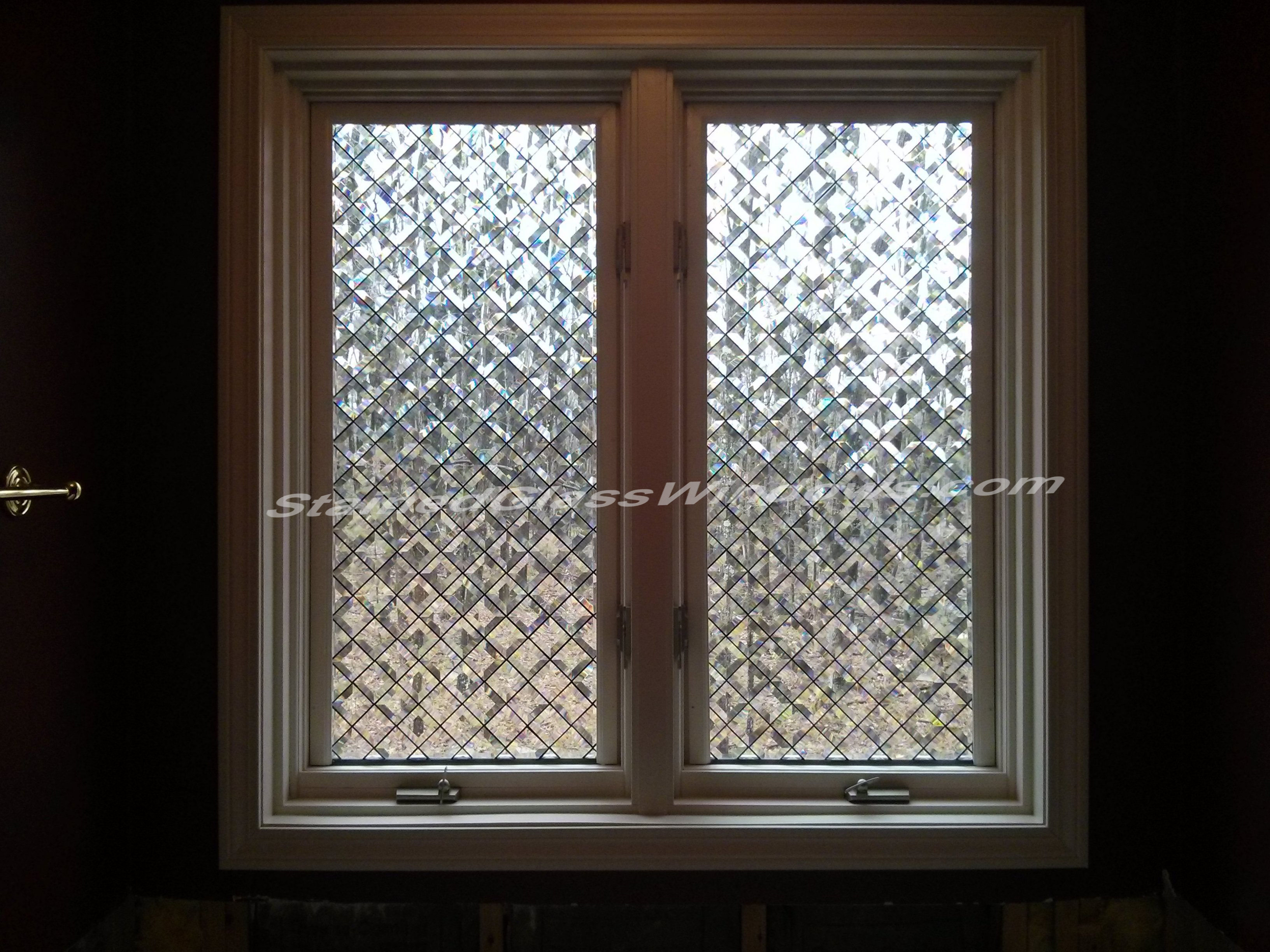 Clear Leaded Glass : Wow all clear beveled squares stained glass leaded