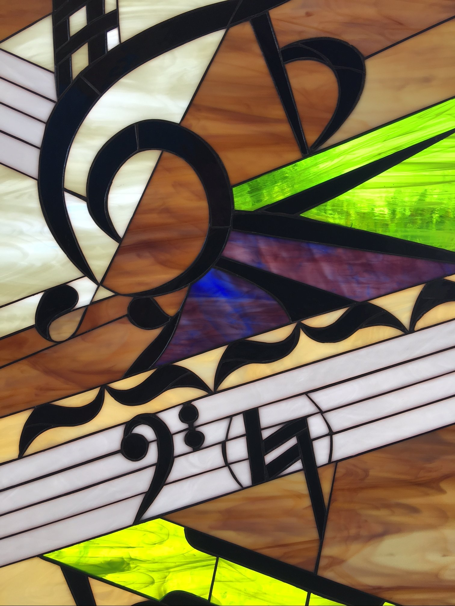 triple paned  insulated  colorful  u0026 unique music  piano leaded stained glass window