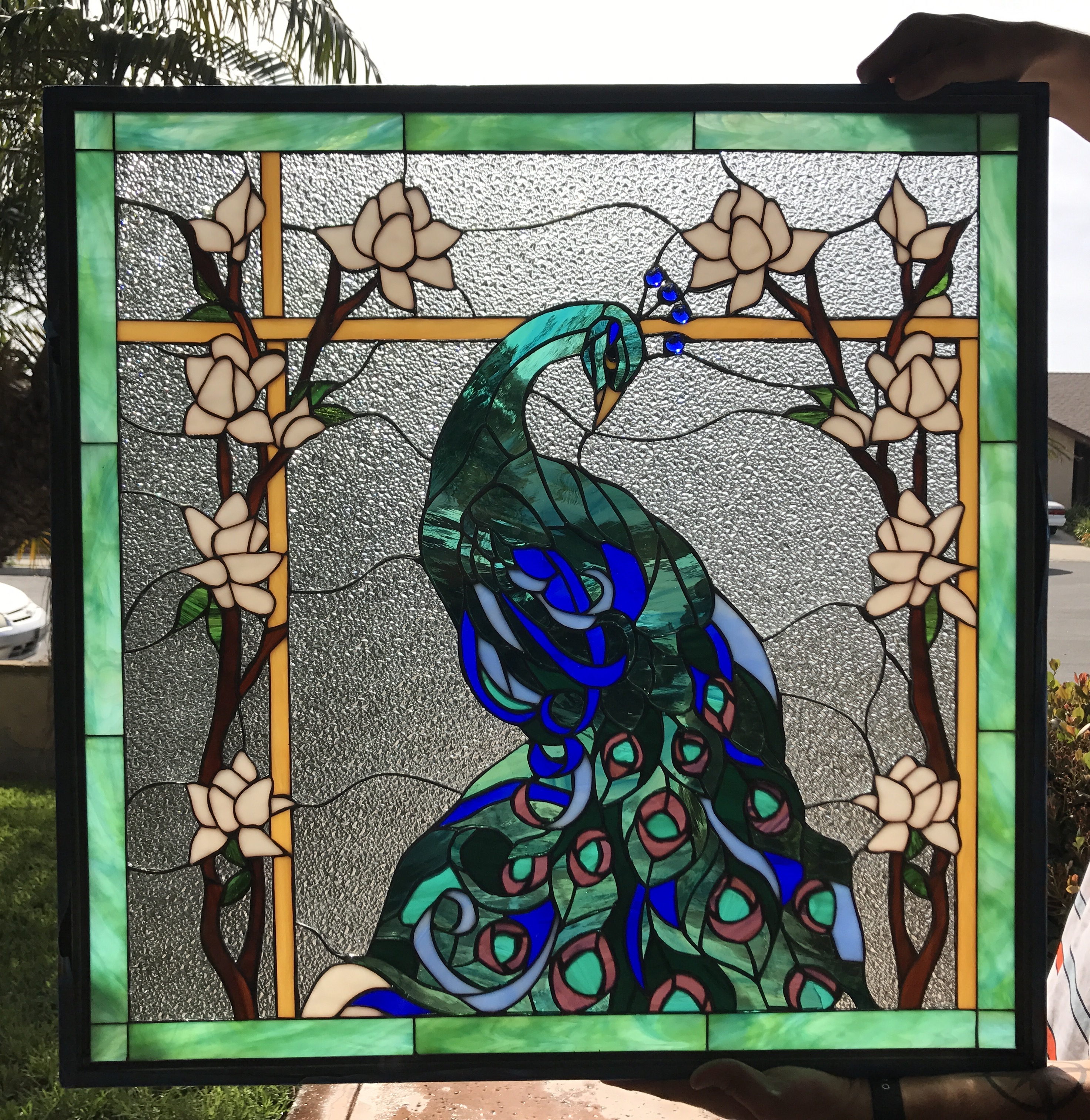 stained glass window panels Magnificent Peacock & Magnolia Flowers Leaded Stained Glass Window  stained glass window panels