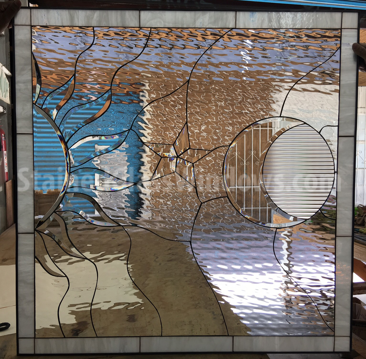 Clear Leaded Glass : Gorgeous all clear sun moon beveled and leaded glass