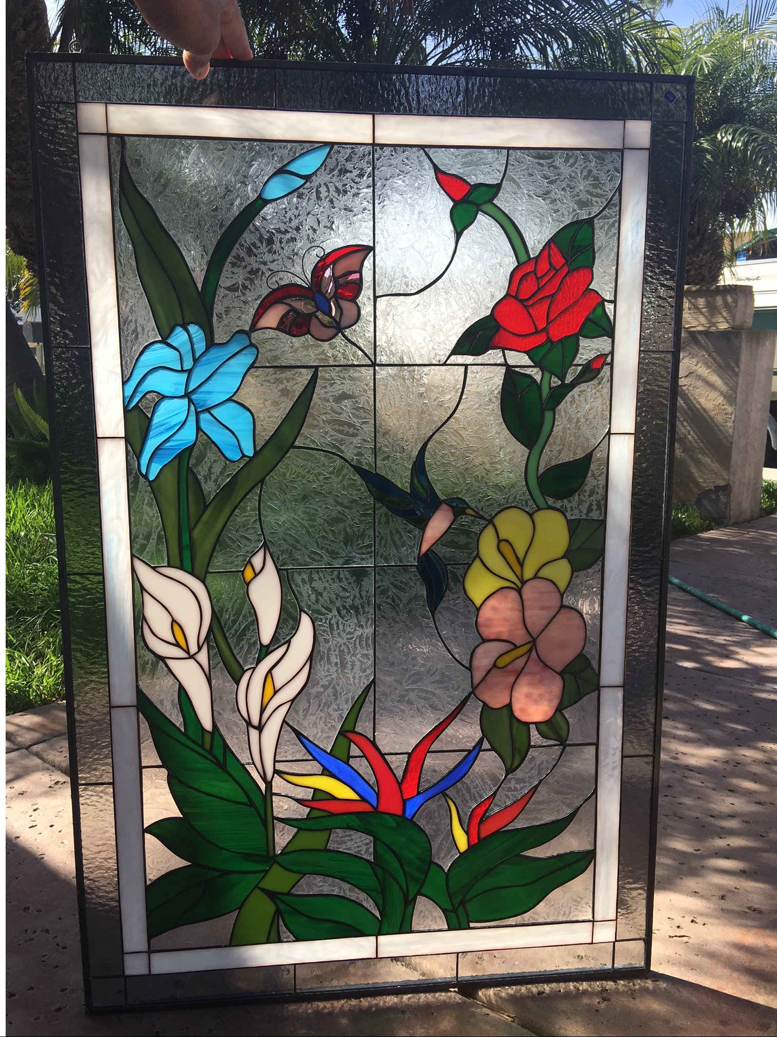 hummingbird butterfly flowers leaded stained
