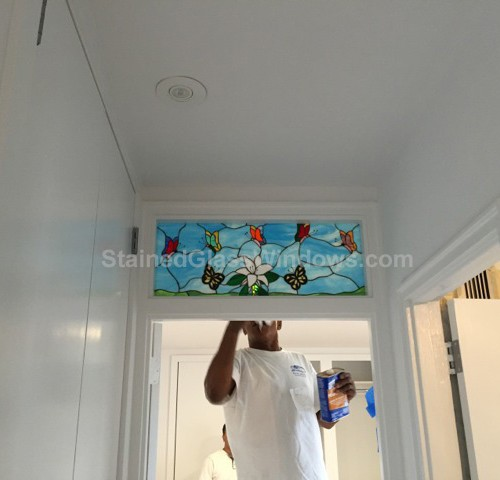 Colorful Butterfly Stained Glass Interior Transom Window Insert