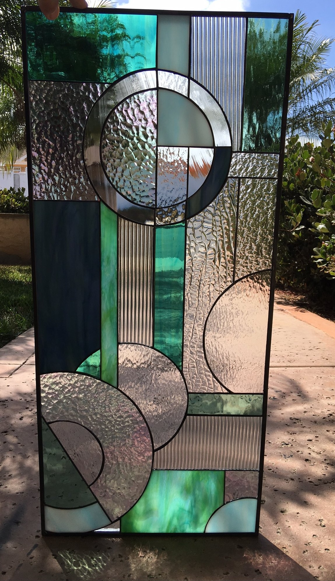Lovely Abstract Circles Quot Viejo Quot Stained Leaded Glass Panel