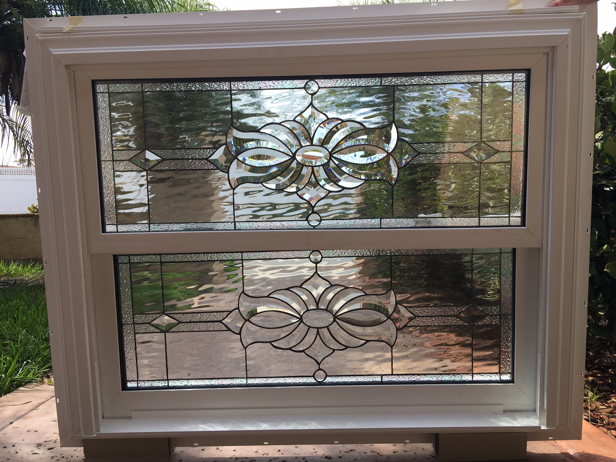 Double Glass Windows : Double hung vinyl slider window frame with all clear water