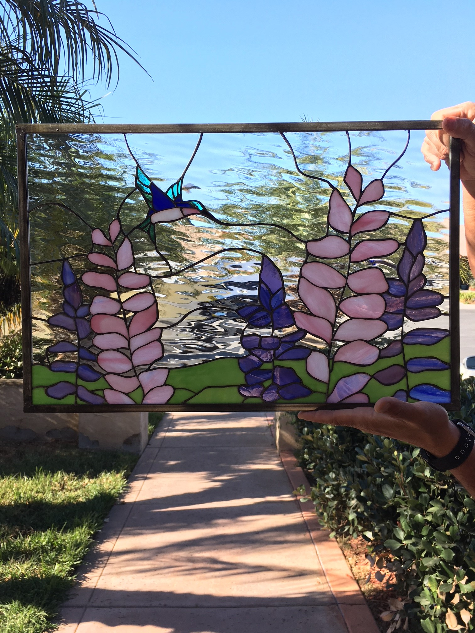 Lupine Flowers Amp Hummingbird Leaded Stained Glass Window