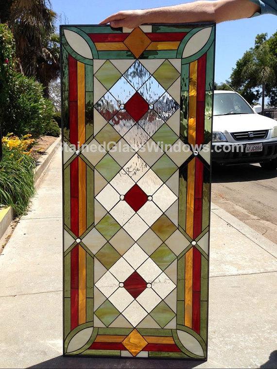 The Quot Malibu Quot Geometric Stained Glass Diamond Window Panel