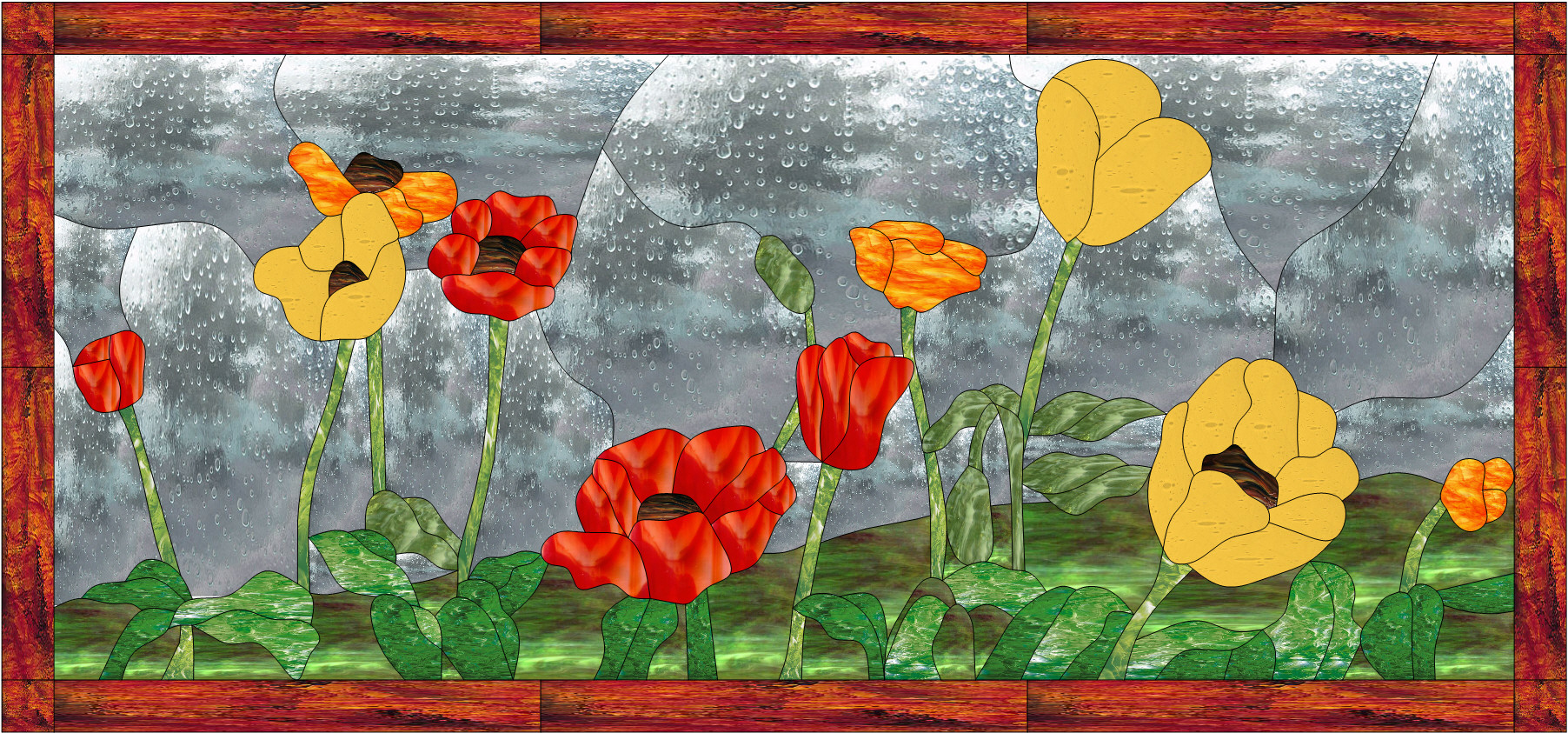 Colorful Quot Poppy Poppies Quot Leaded Stained Glass Window