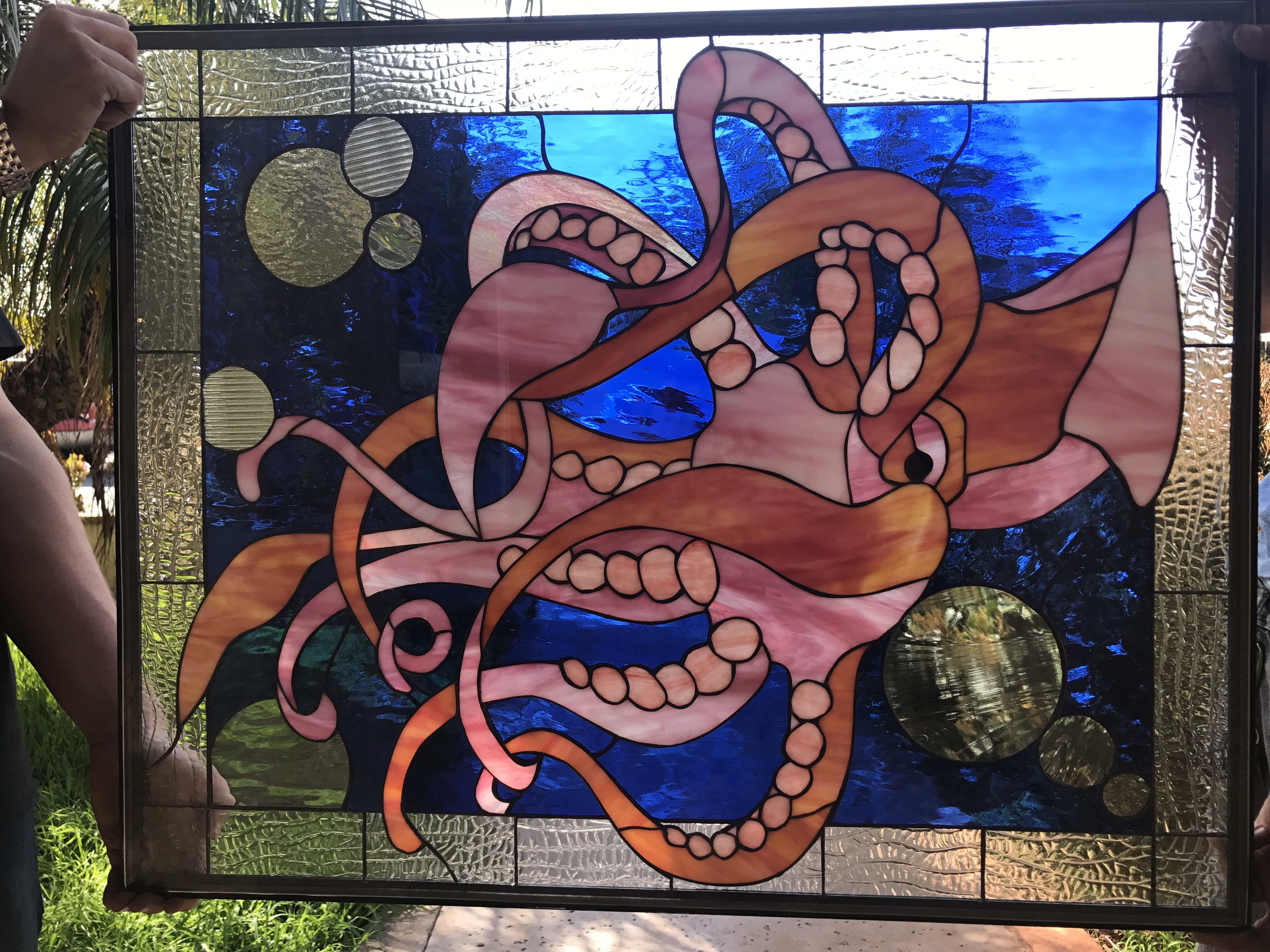 Incredible The Quot Squid Amp Bubbles Quot Leaded Stained Glass