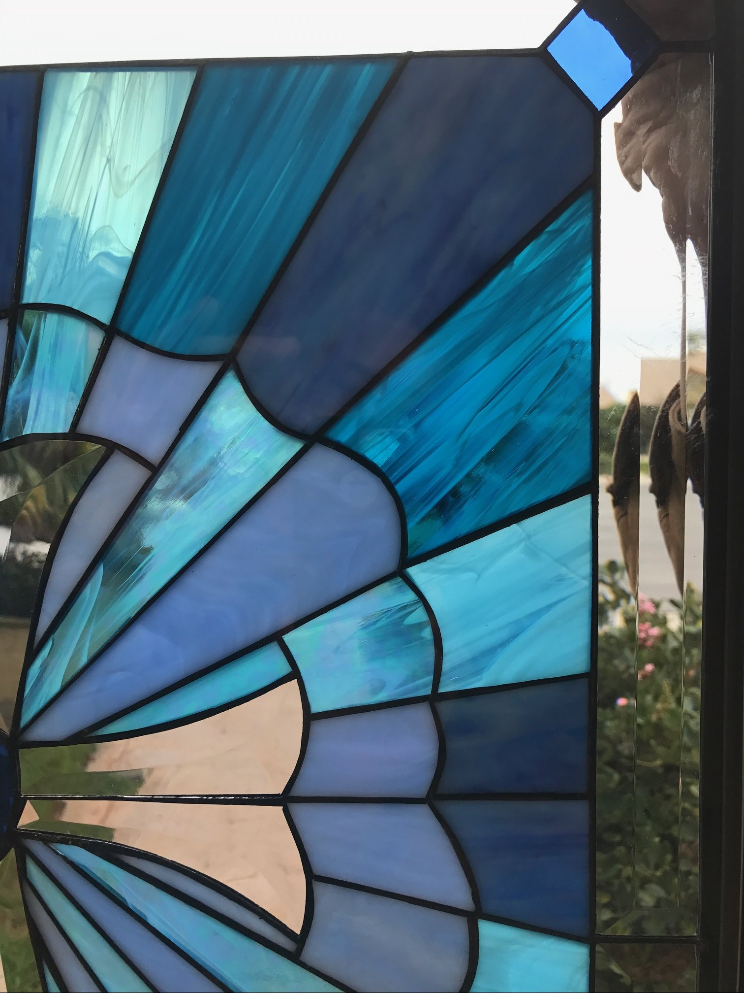 Beautiful Blue Cross Stained Glass Window Panel Or Cabinet