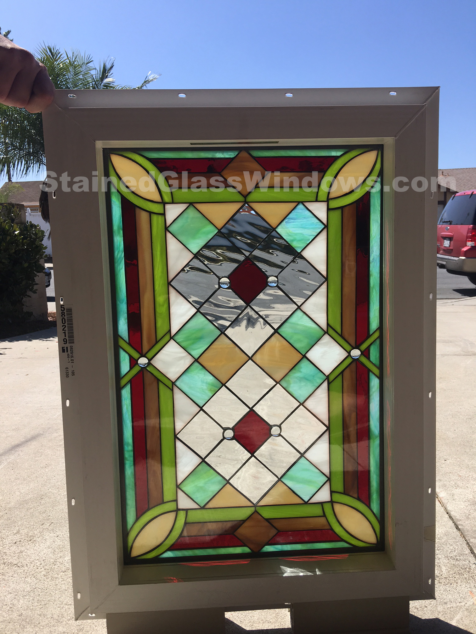 The Malibu Leaded Stained Glass Window Panel Insulated