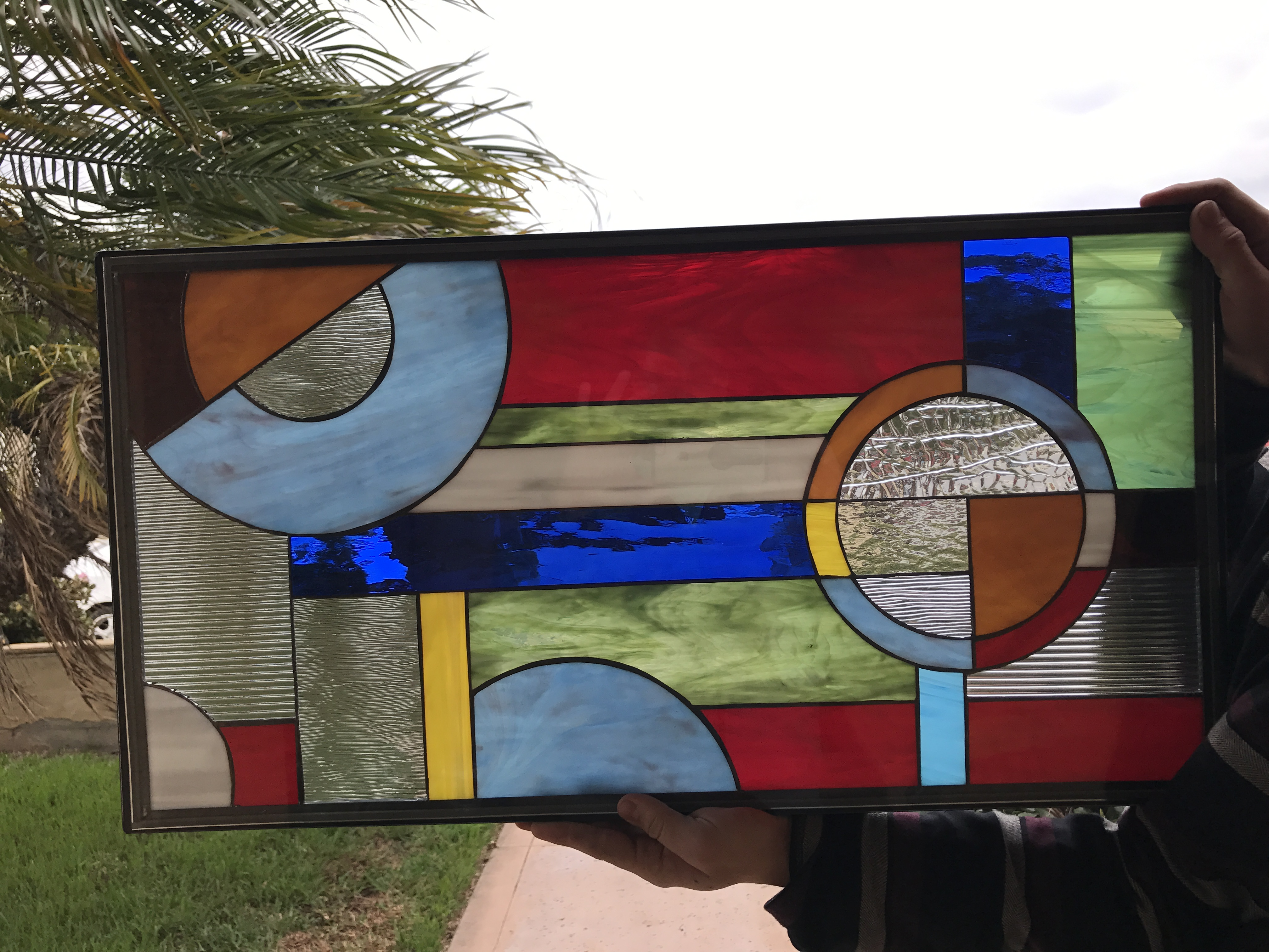 The Merlin Colorful Geometric Stained Glass Window Panel Or