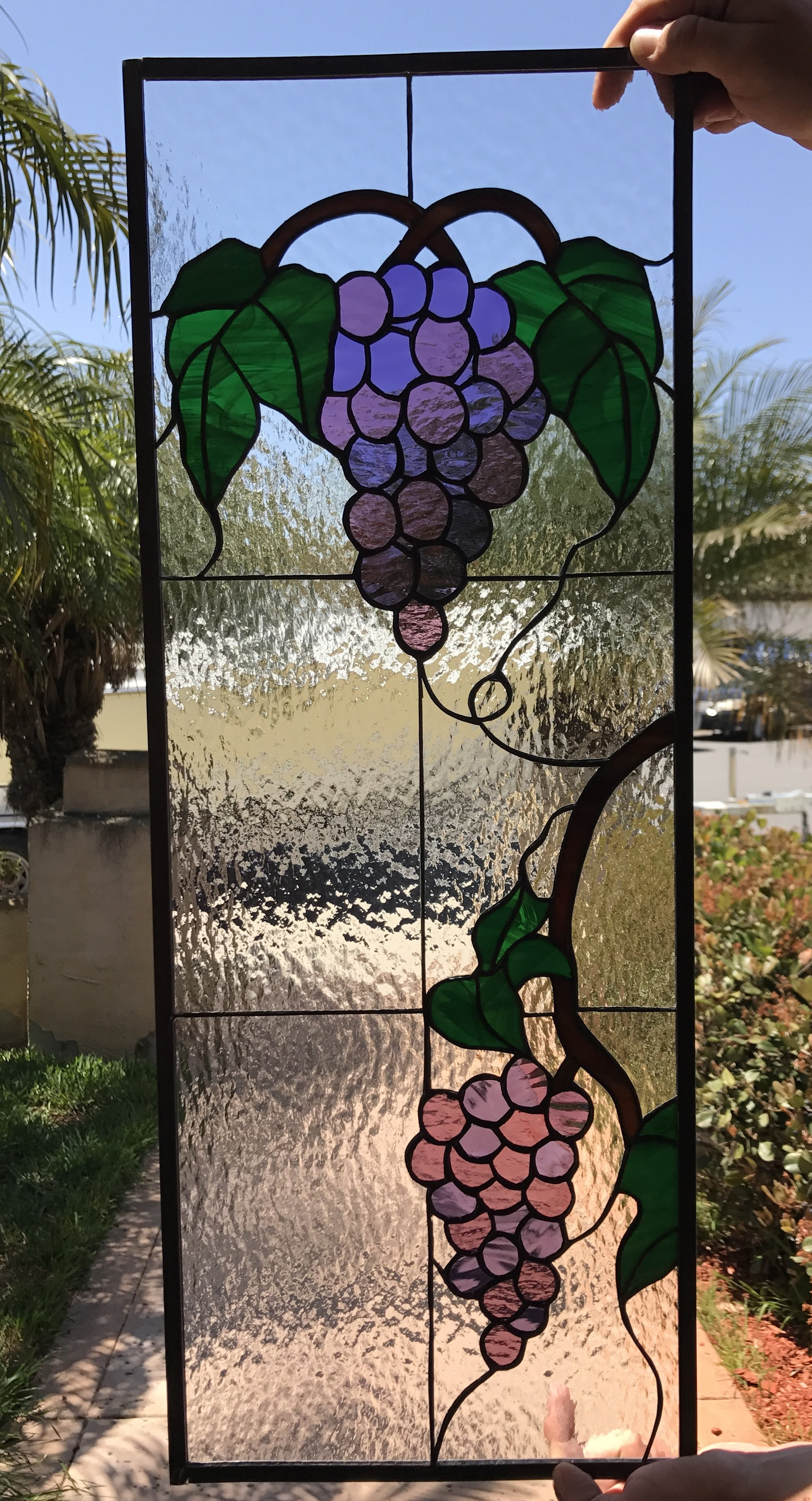 Lovely Grape Clusters Stained Glass Window Panel Or