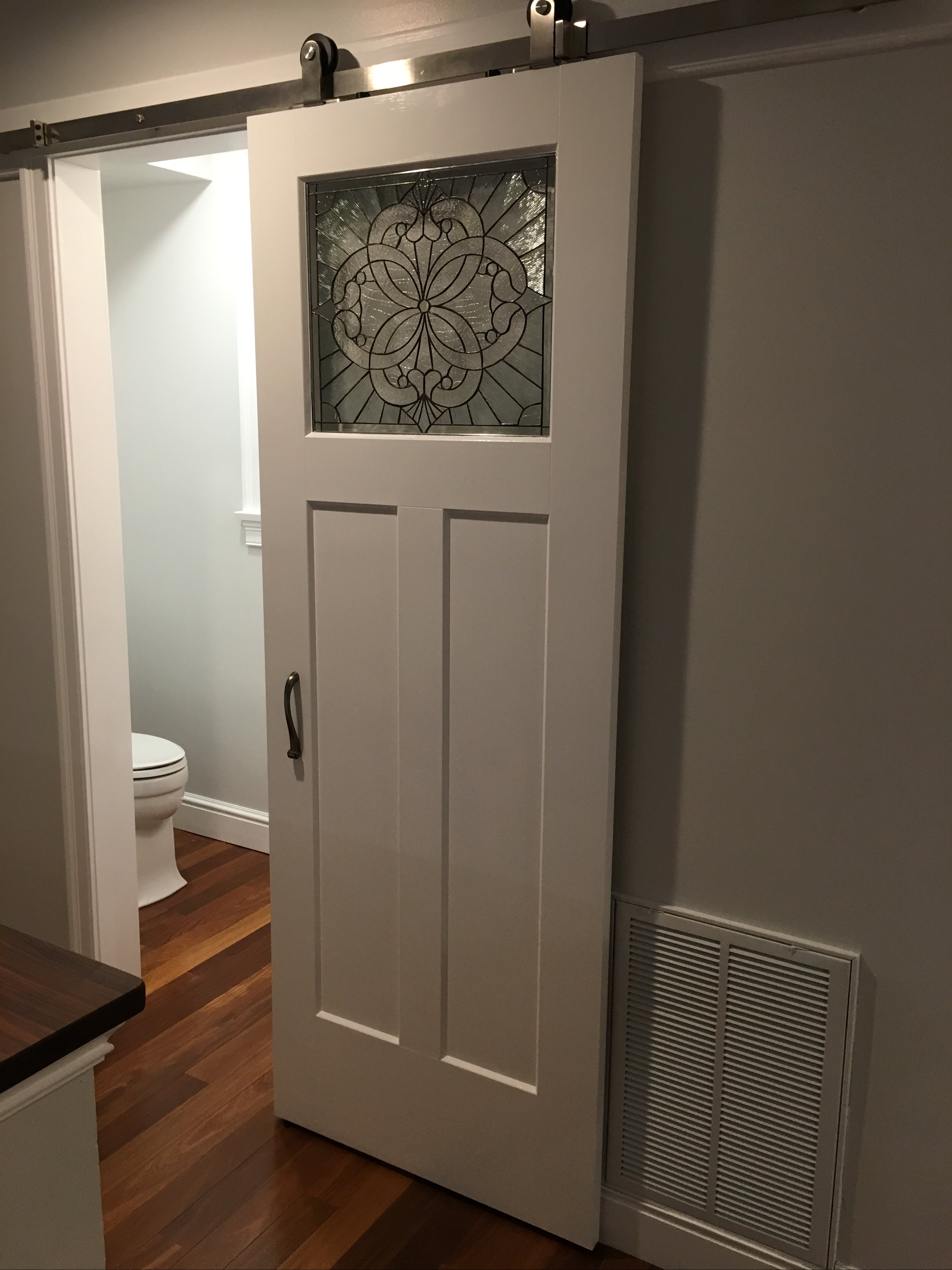 Stained Glass Beveled Sliding Barn Bathroom Door