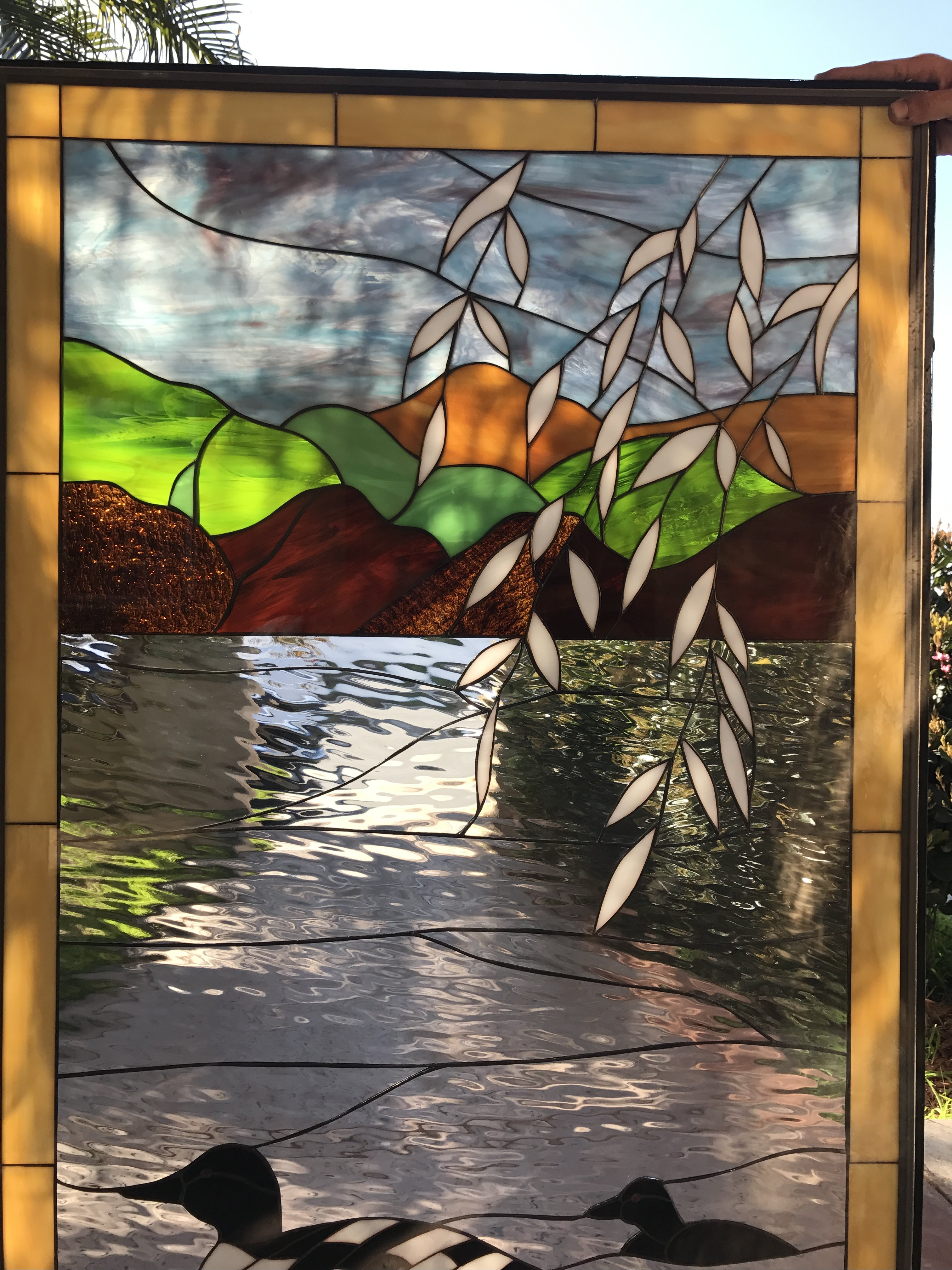 Nice Quot Loons On The Paddle Quot Stained Glass Window Panel Or