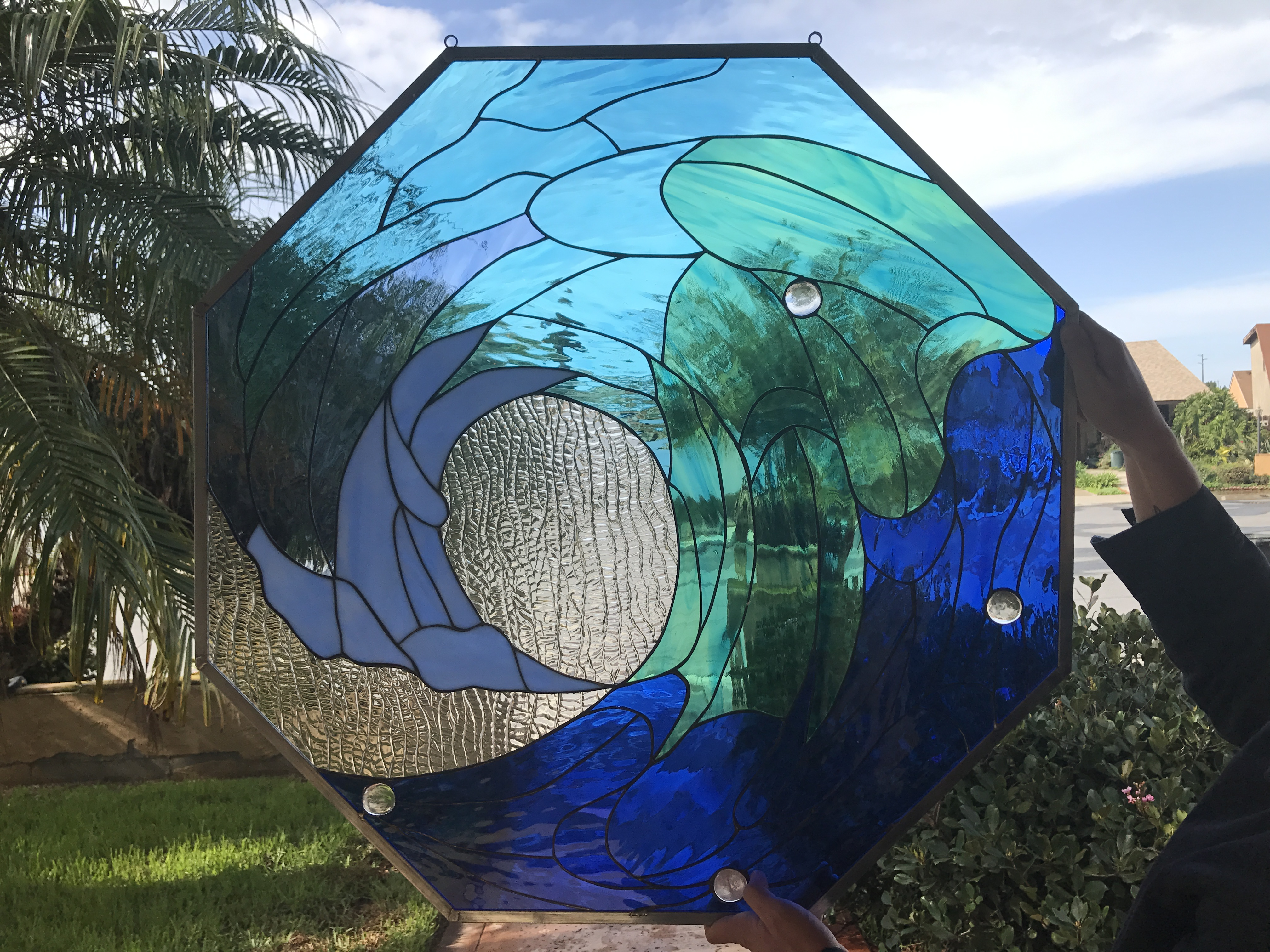 Octagonal Shaped Cresting Wave Stained Glass Window Panel
