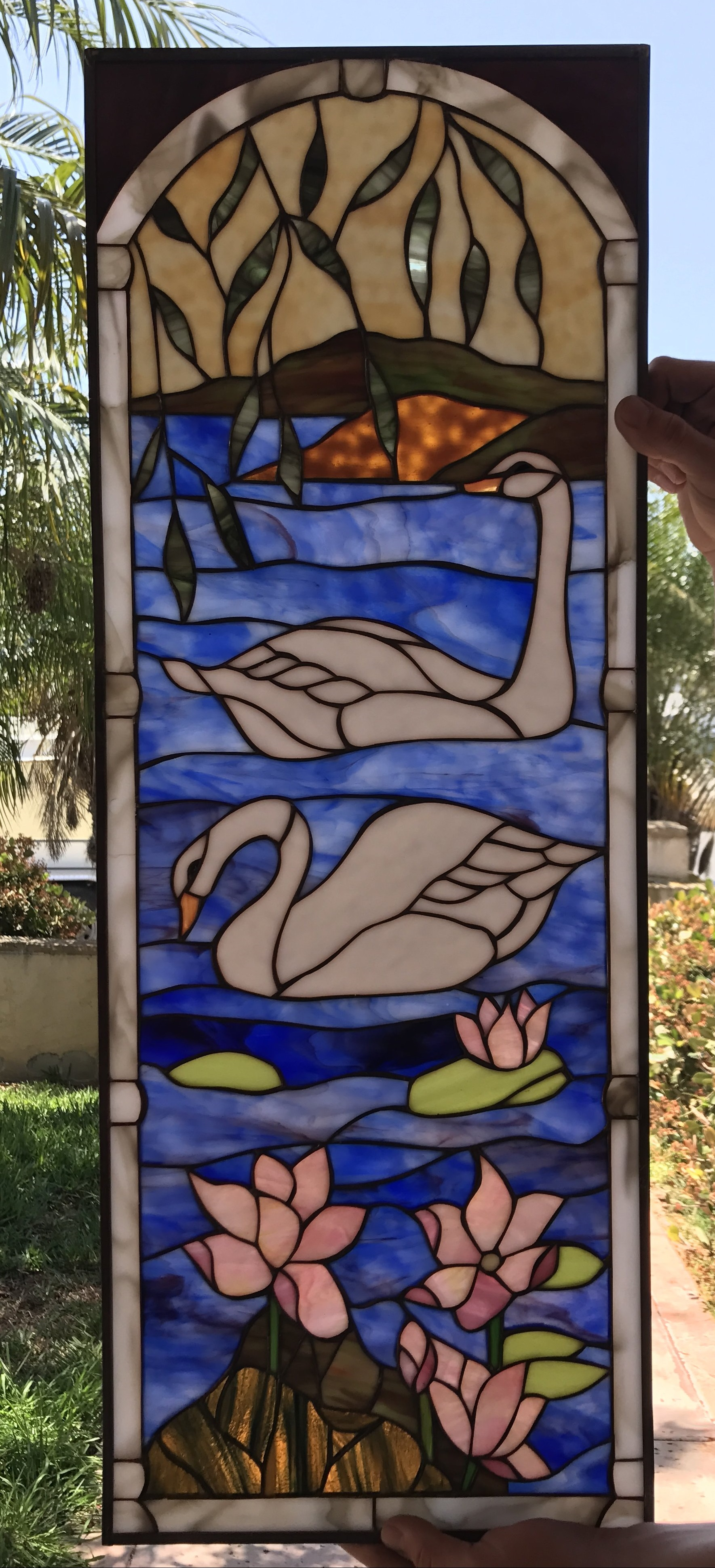 The Quot Swan Lake Quot Stained Glass Window Panel Or Cabinet