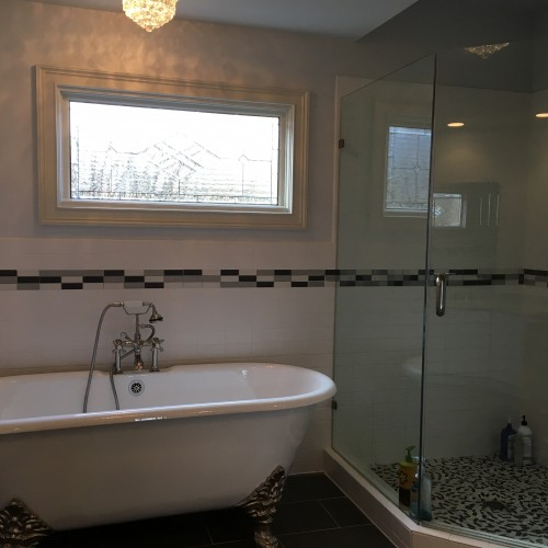 Stained U0026 Beveled Glass Insulated Window Installed Above A Bathtub