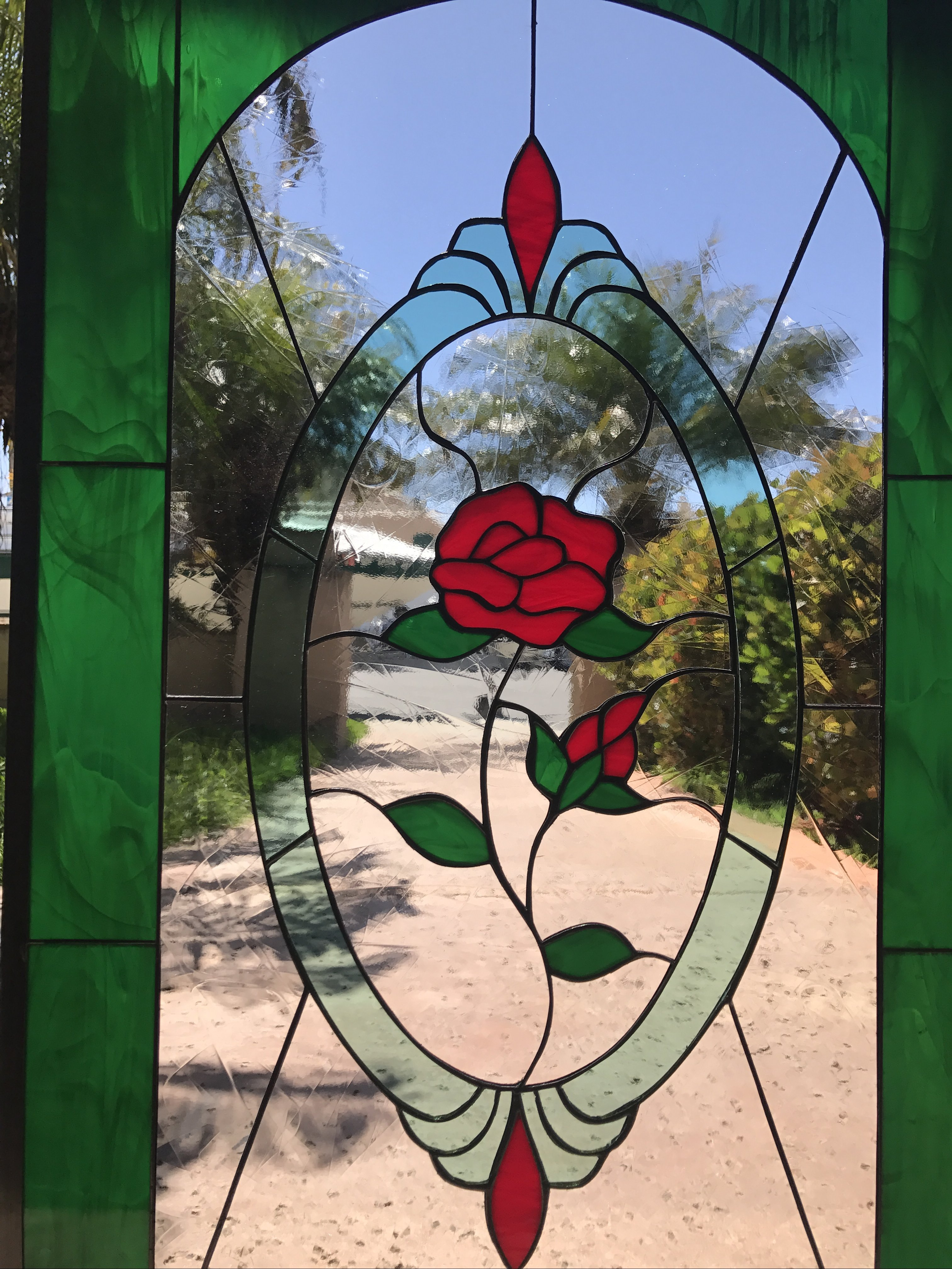 Lovely Single Red Rose Stained Glass Window Panel Or