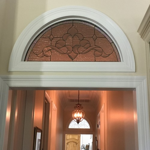 Two Arched Beveled Glass Inserts For Interior Transoms
