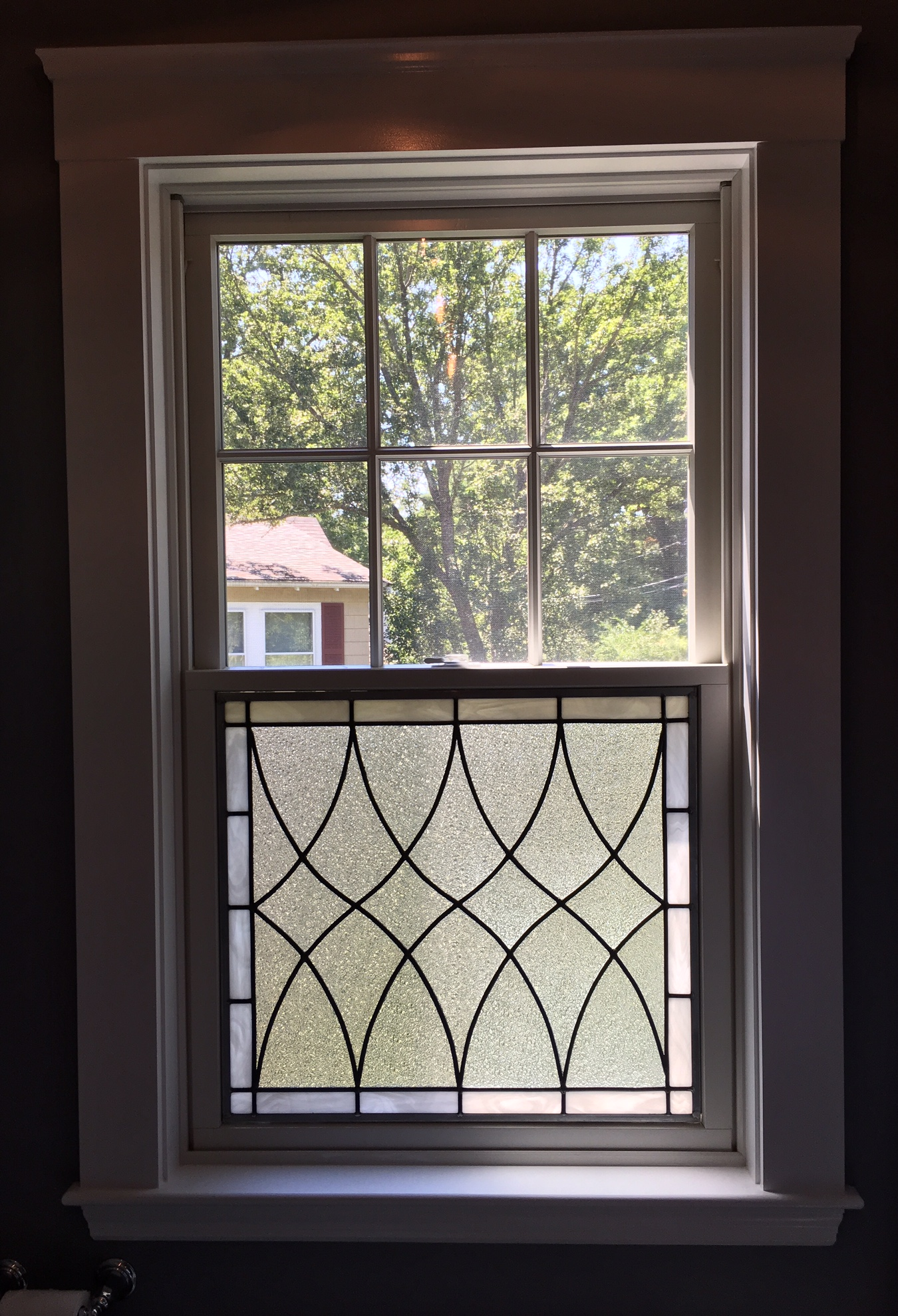 Clear Glass Windows : Classic clear textured leaded glass window insert attached