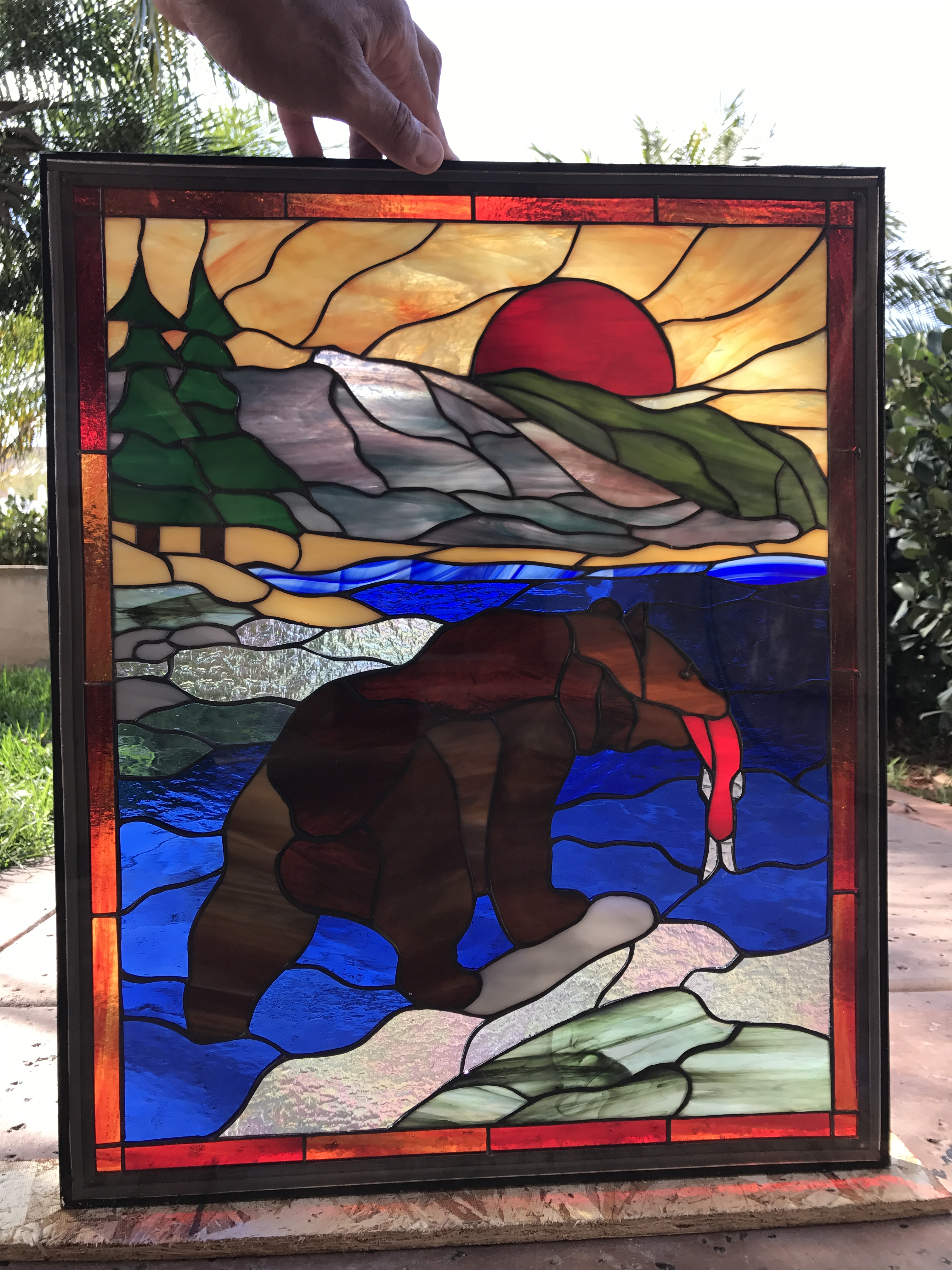 Bear River And Salmon Leaded Stained Glass Window Panel