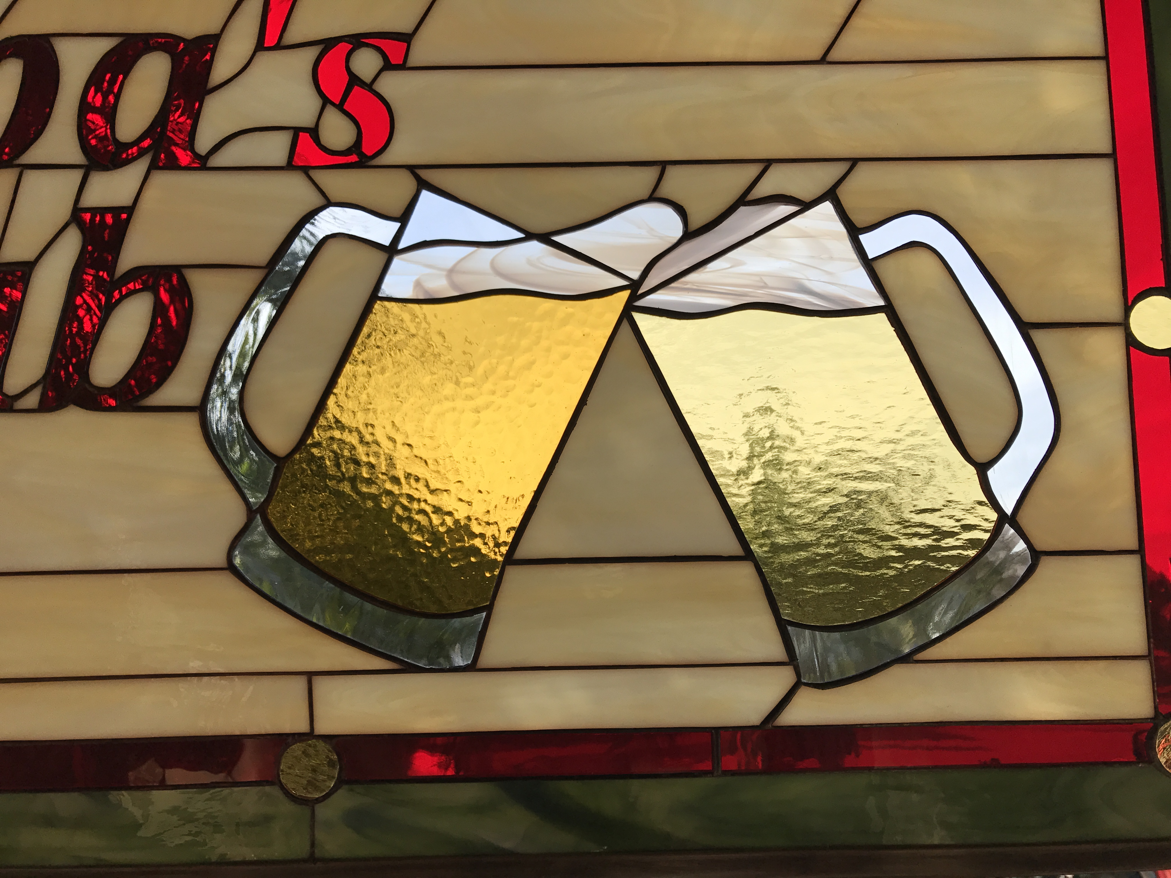 Bar Sign Personalized Leaded Stained Gl Window Panel