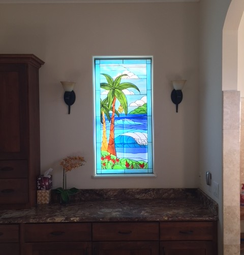 White Egret And Palm Tree Stained Gl Window Installed A Bathroom