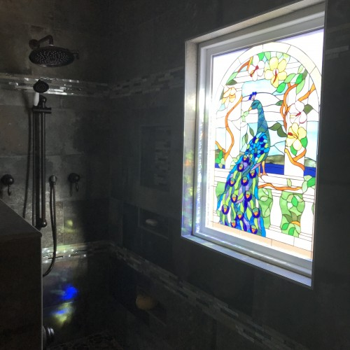 Framed And Triple Paned (Insulated) U201cPeacock U0026 Magnolia Flowersu201d Stained  Glass Window Installed In Shower
