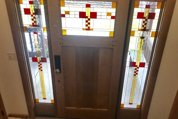Custom stained glass windows panels doors and gifts classic craftsman mission stained glass door and sidelites planetlyrics Choice Image