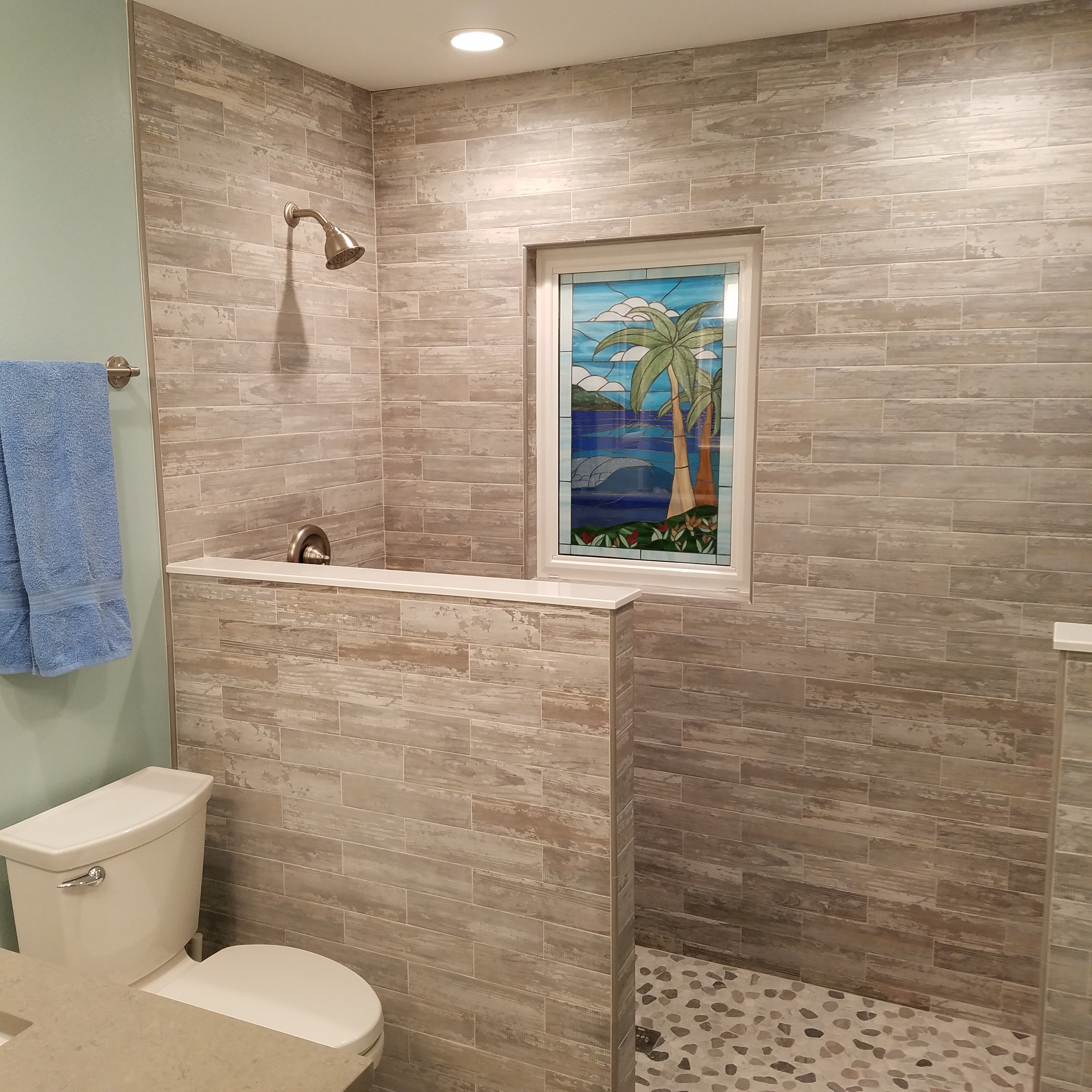 Insulated Stained Glass Palm Tree Window In Shower Area ...