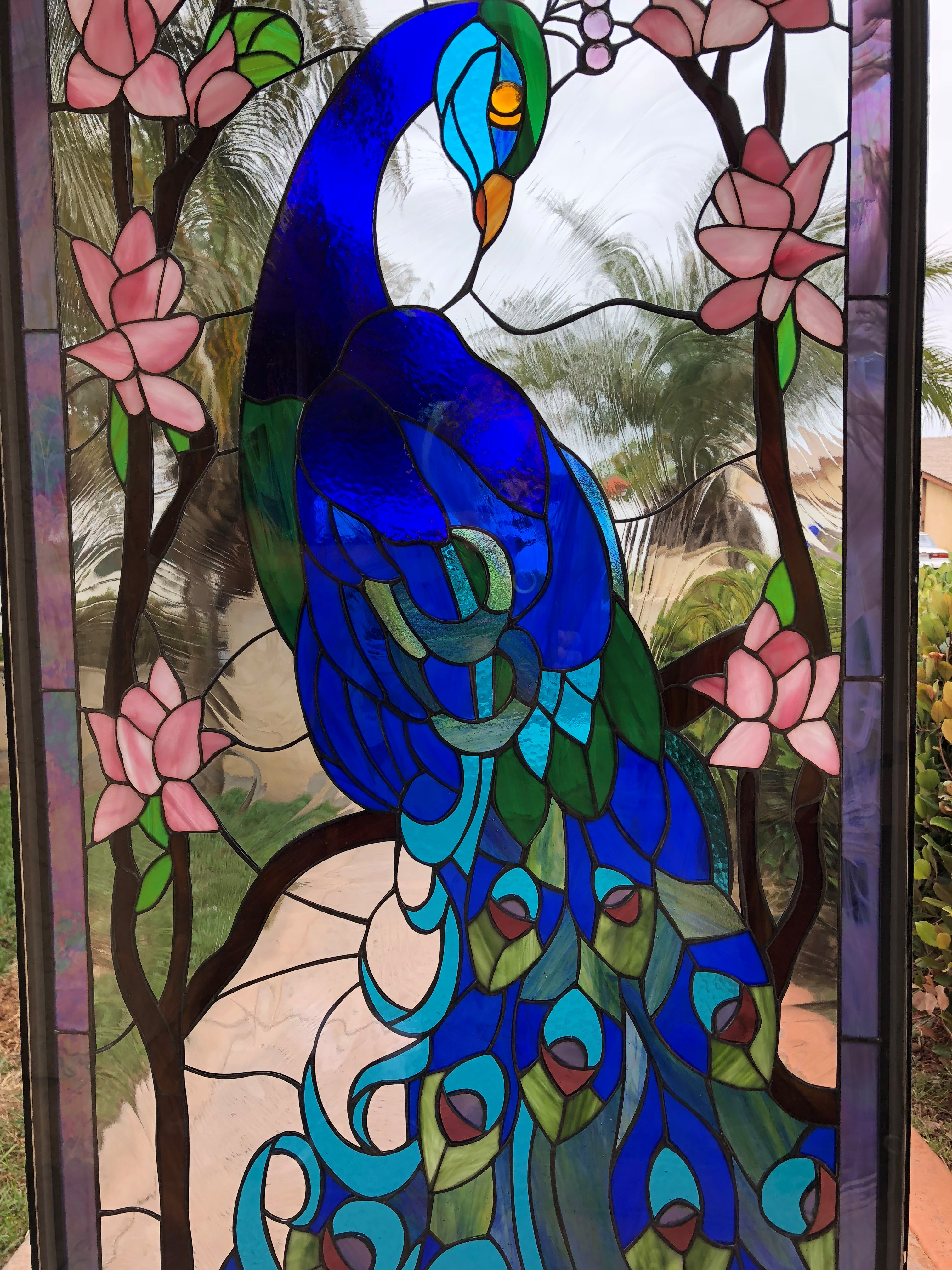 Wow Colorful Peacock Stained Glass Window Panel
