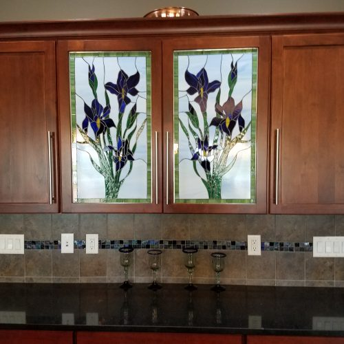 Lovely blue iris stained glass kitchen cabinet inserts (before & after)