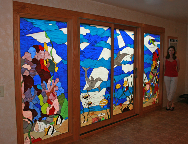 Wall of stained glass doors! Incredible sea life panels on Maui