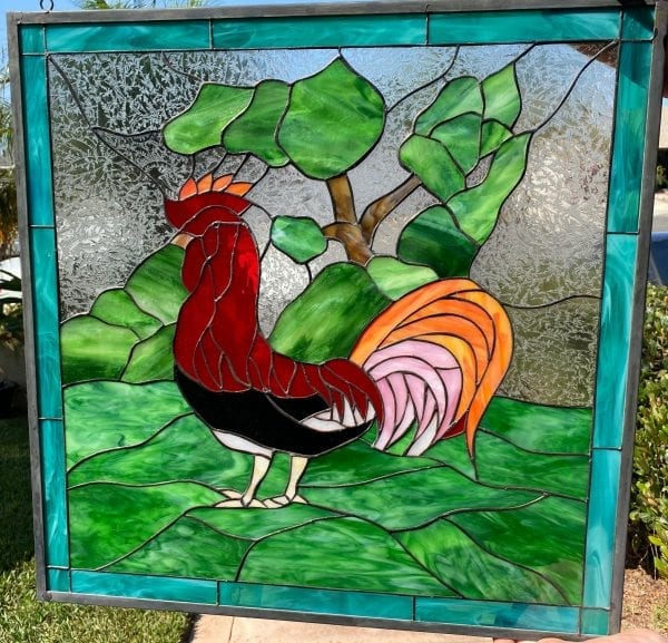 So unique! Morning Rooster Leaded Stained Glass Window Panel