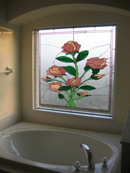 Stained Glass Rose Tempered Window Installed In Bathroom