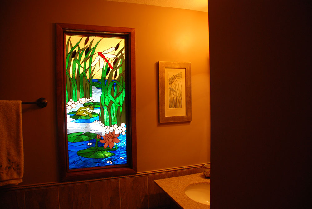 Pond & Dragonfly Stained Glass Window Installed In Bathroom