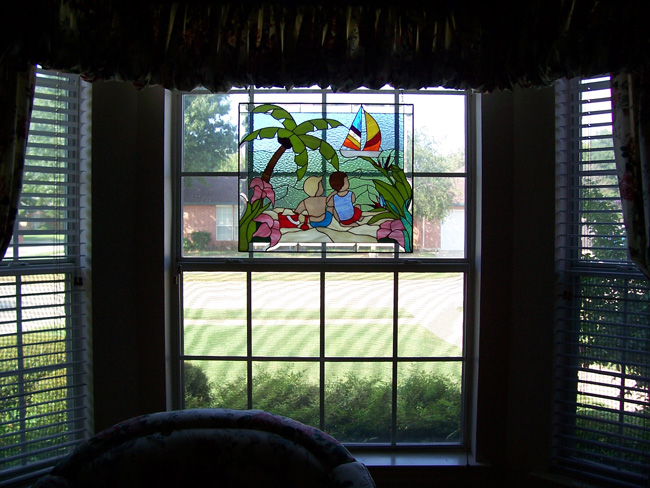 Stained Glass Panel Hanging In The Window With Chains & Hooks