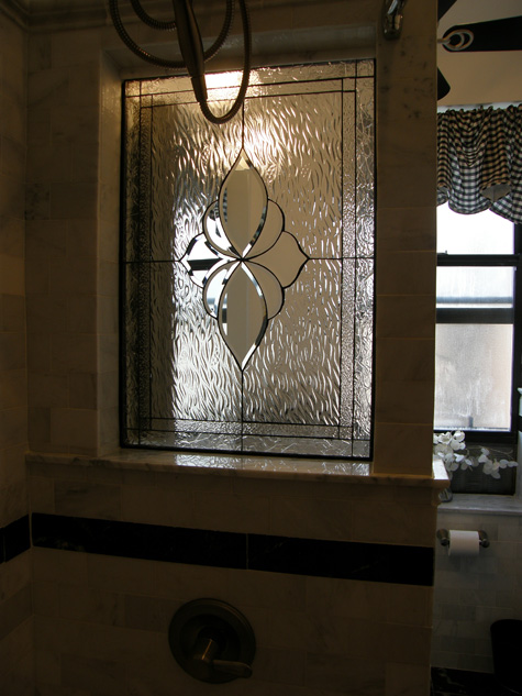 All Clear Beveled Partition Bathroom Window