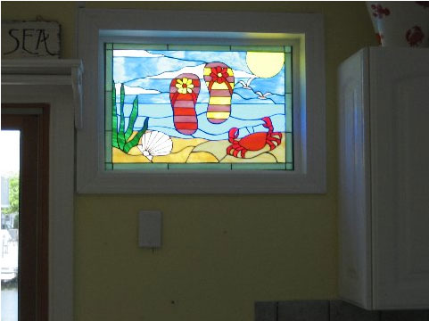 Beach Flip Flops, Crab & Shell Stained Glass Panel Installed Against An Existing Window