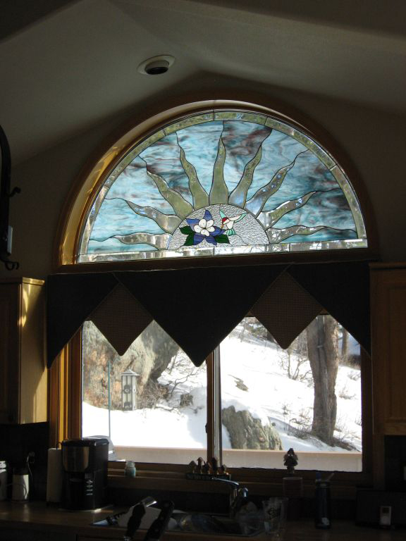 Beveled Arched Sun Ray With Hummingbird Stained Glass Window
