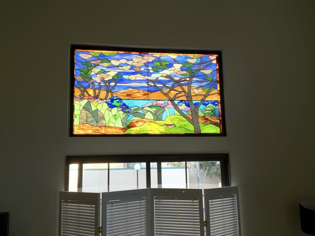 "Lovely ""Tree Of Life"" Stained Glass Accent Window"
