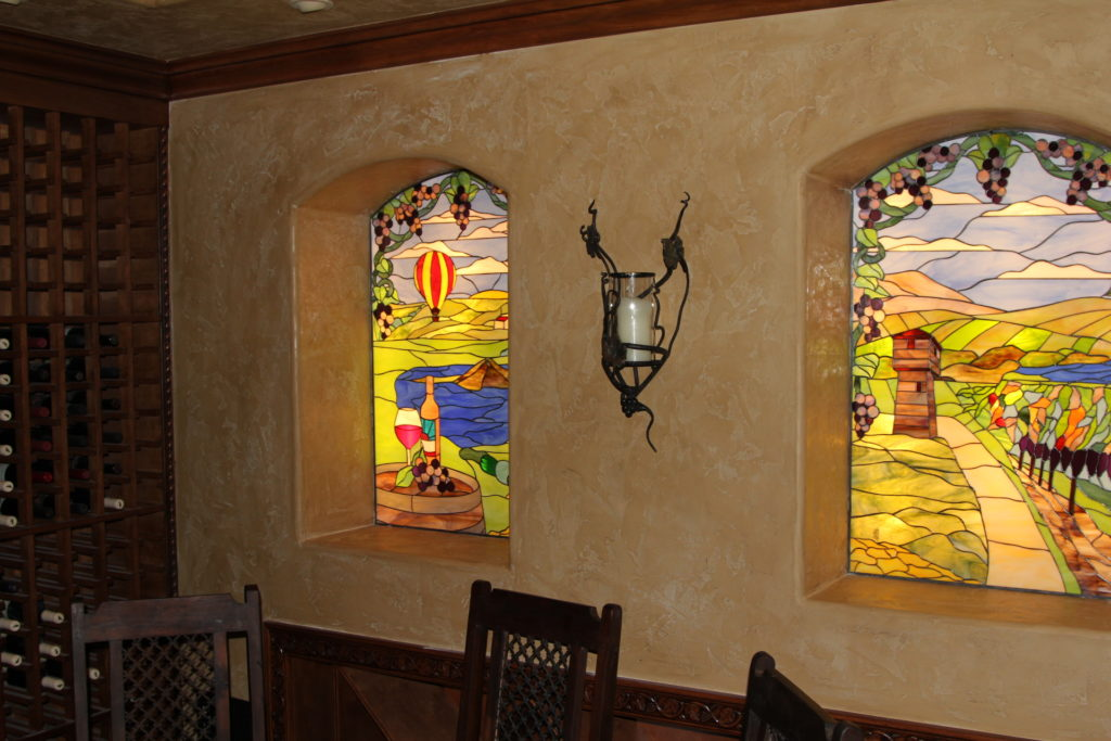 Napa Valley Vineyard Stained Glass Windows Installed In An Italian Restaurant