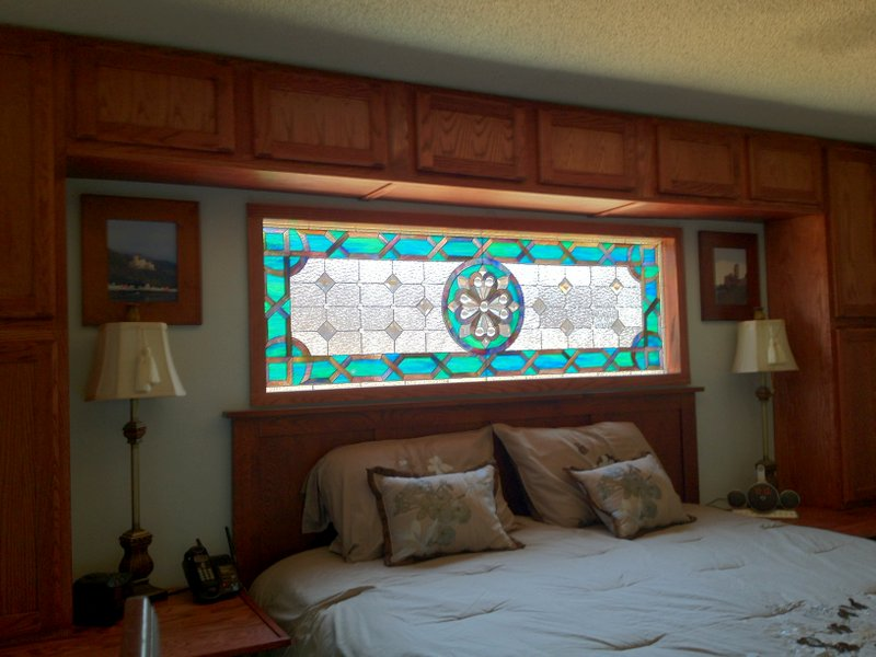 Aqua Beveled Stained Glass Window